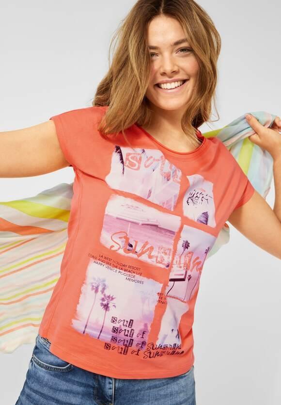 Cecil | T-Shirt mit Fotoprint | Farbe: fresh coral 33038, 316343