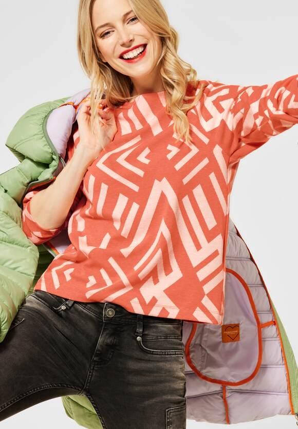 Street One | Softes Shirt mit Muster | Farbe: strong mandarine mel 22812, 315907