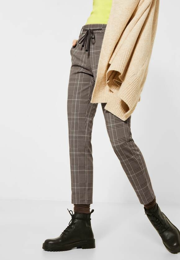 """Cecil   Glencheck-Hose """"Tracey""""   Farbe: misty mocca brown 12590, 373537"""