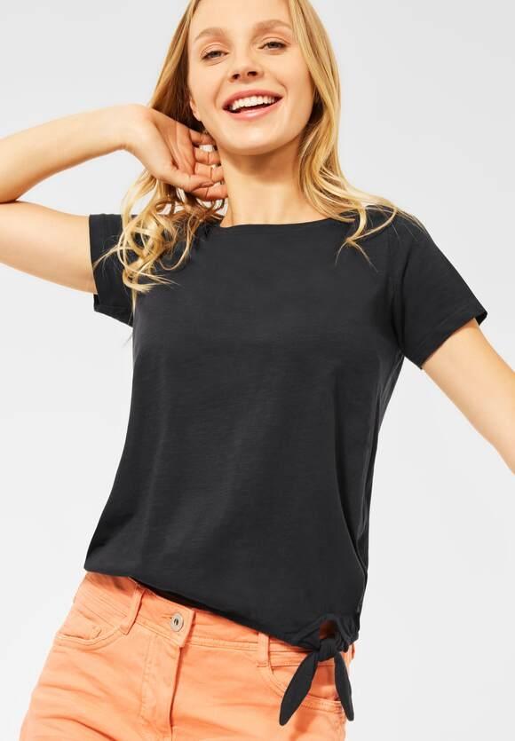Cecil | T-Shirt mit Knoten Detail | Farbe: carbon grey 12538, 316481