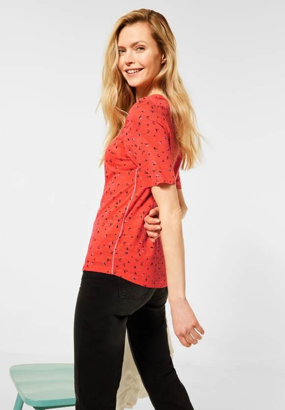 Cecil   T-Shirt mit Minimal-Muster   Farbe: papaya orange 32661, 316054