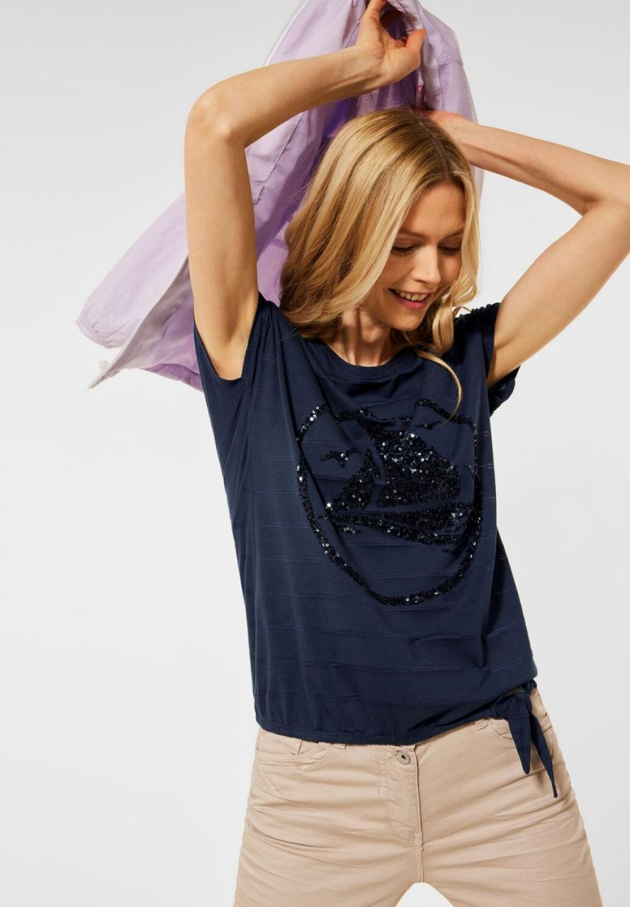 Cecil   T-Shirt mit Knoten Detail   Farbe: deep blue 20128, 316059