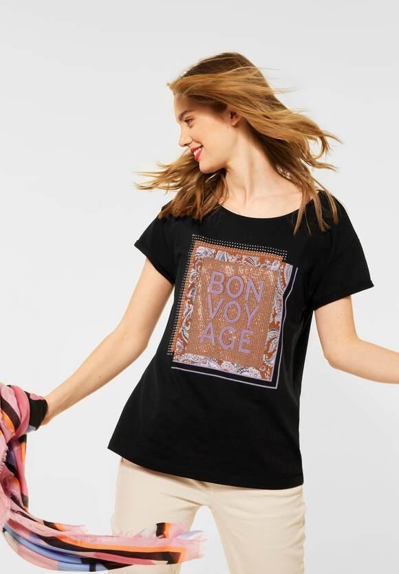 Street One | T-Shirt mit Deko-Steinchen | Farbe: black 30001, 316117