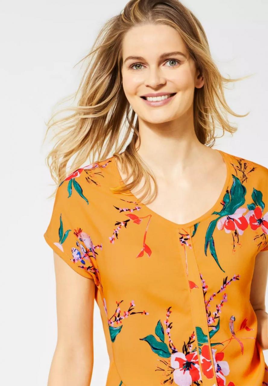 Cecil | T-Shirt mit Blumenmuster | Farbe: mango yellow 32050, 314915