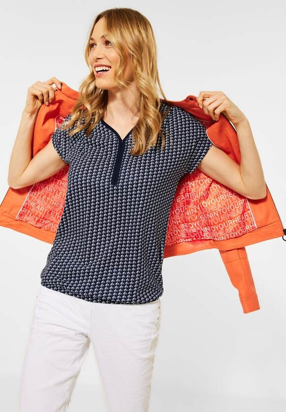 Cecil   T-Shirt mit Minimal Muster   Farbe: deep blue 20128, 316062
