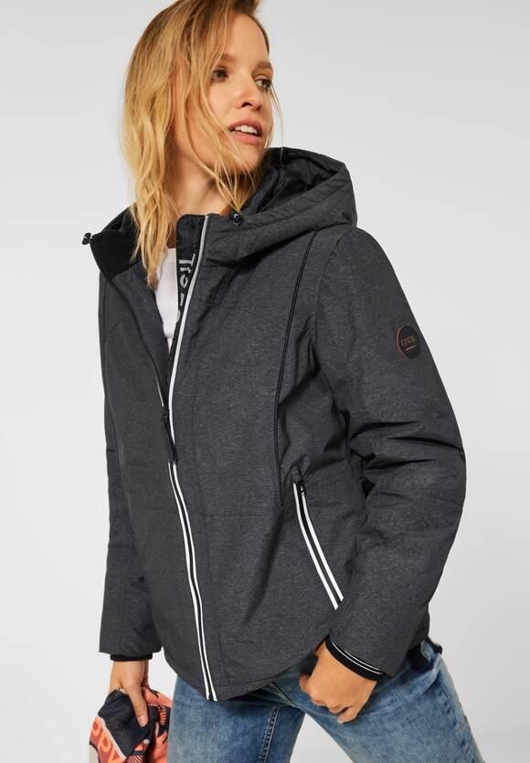 CECIL | Outdoor Jacke mit Kapuze | Farbe: graphite grey melange 10602, 201577